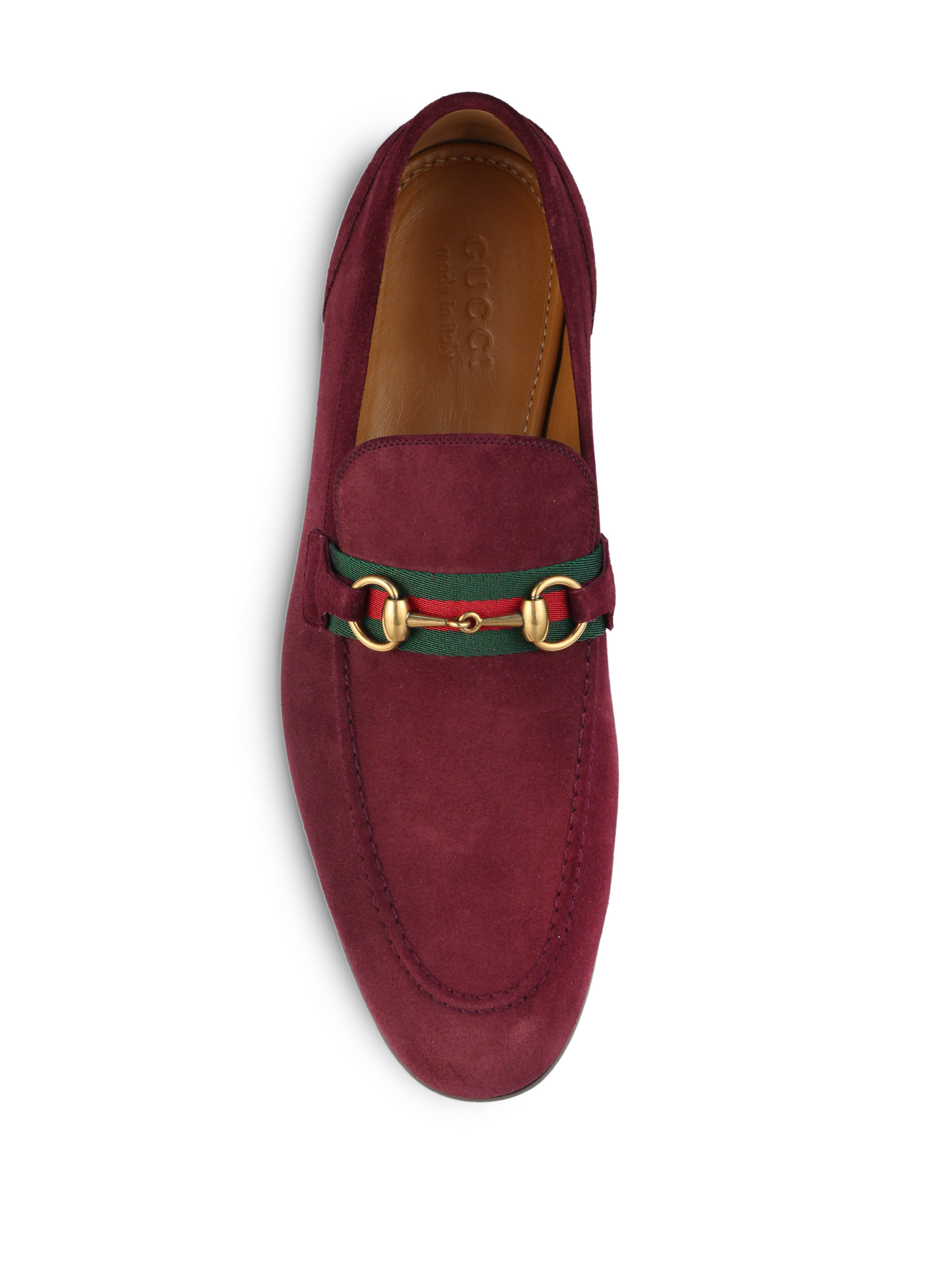 eaffeda5f2b91 Gucci Suede Horsebit Loafers in Red for Men - Lyst
