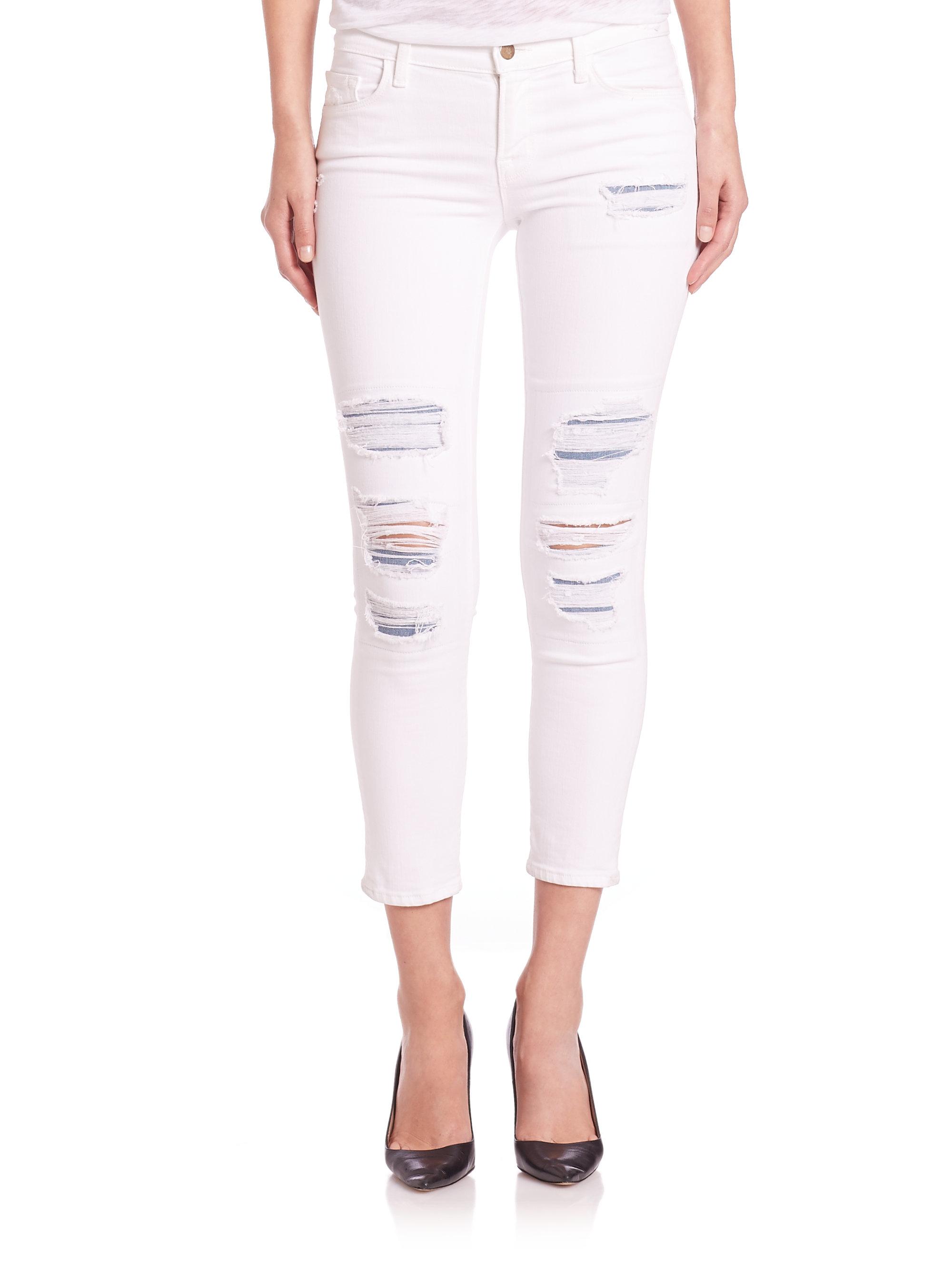 5239d7142f98 J brand Distressed Mid-rise Capri Jeans in White