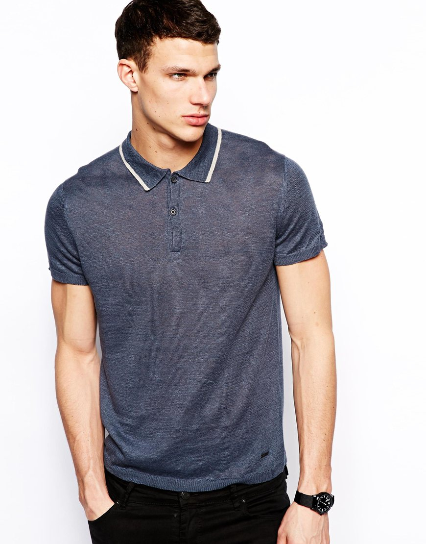 Dkny fine knit polo shirt in blue for men navy lyst for Man in polo shirt