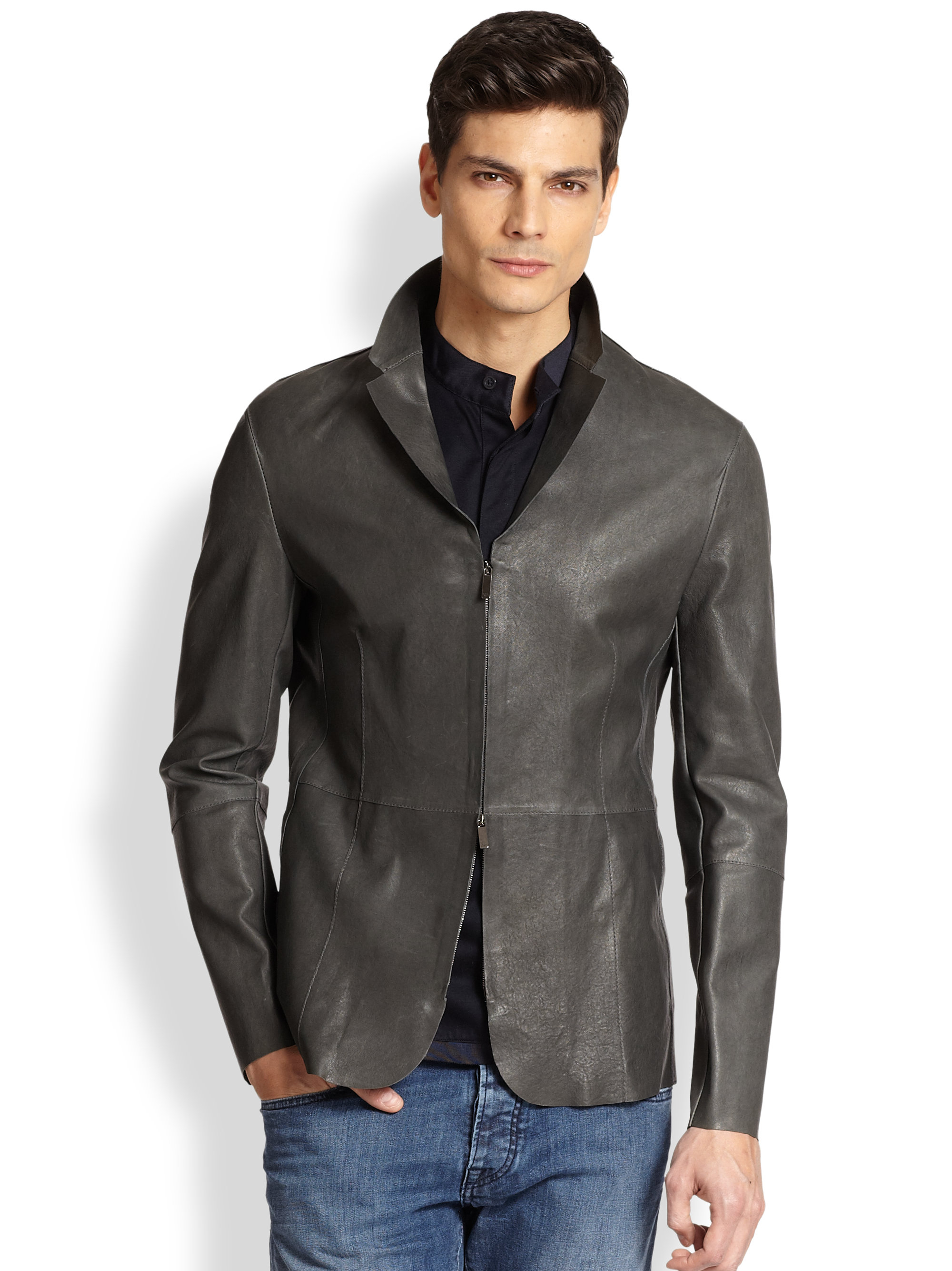 4911dfe5c127a5 Lyst - Emporio Armani Leather Blazer in Gray for Men