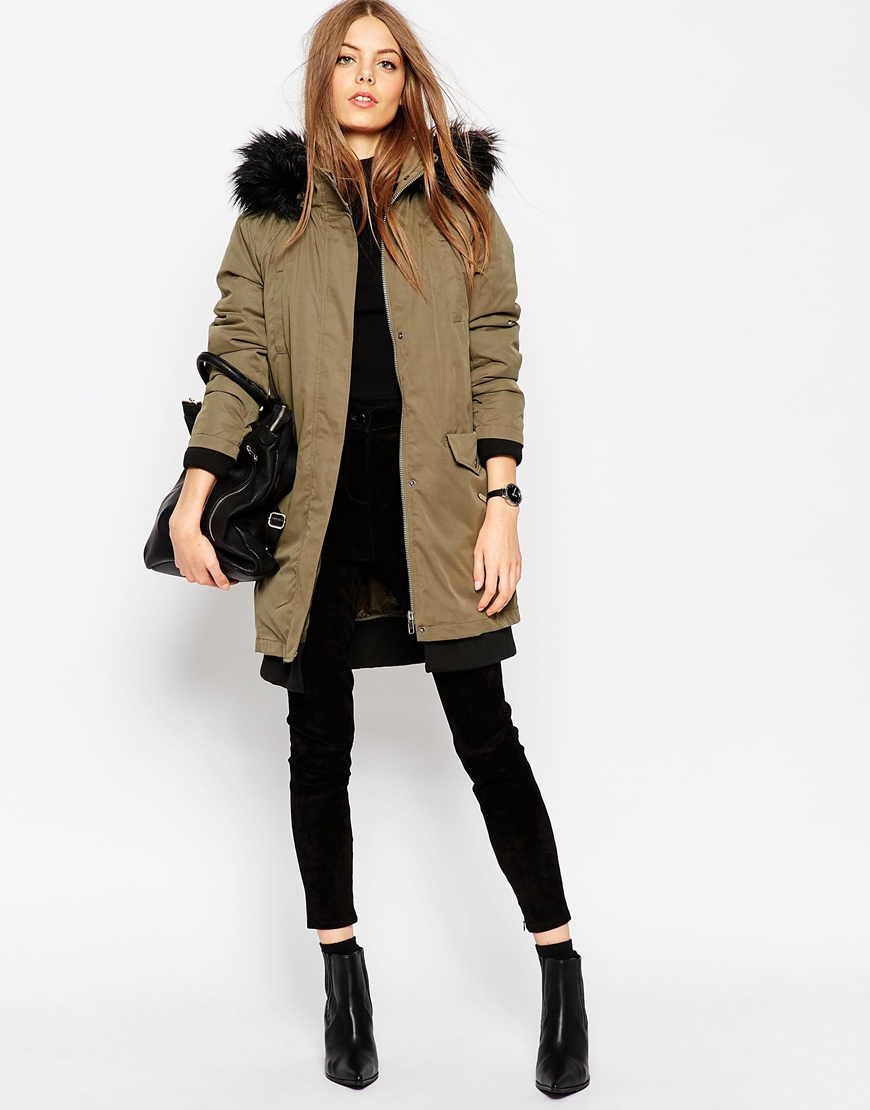 Asos 3 In 1 Parka With Detachable Padded Liner in Natural ...