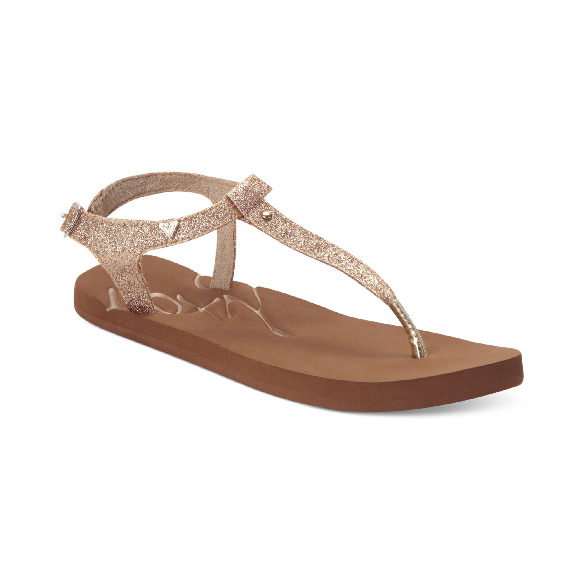 Roxy Hana Tstrap Flat Sandals In Brown Lyst