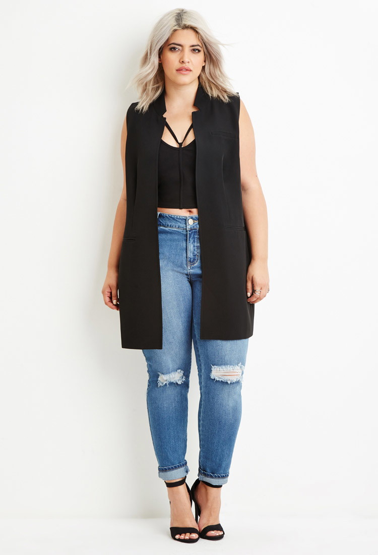 forever 21 plus size longline open-front vest in black | lyst