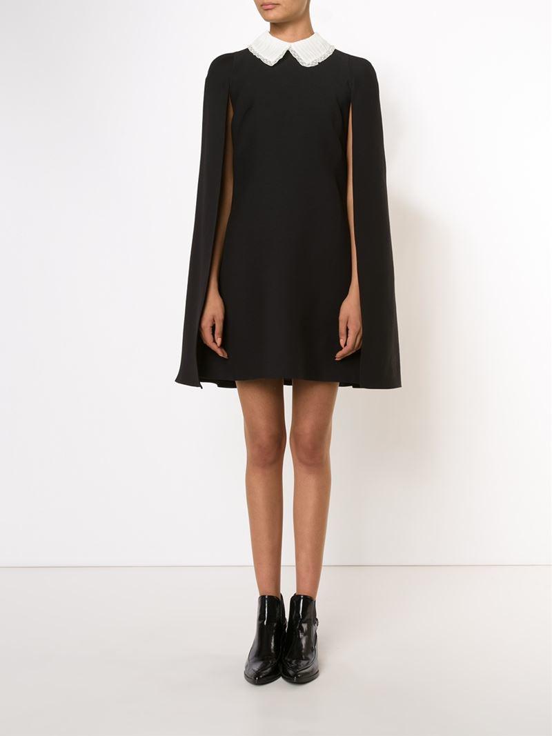 Valentino Puritan Collar Cape Mini Dress In Black Lyst