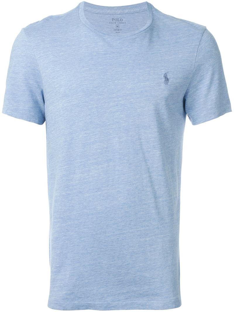 polo ralph lauren logo t shirt in blue for men lyst. Black Bedroom Furniture Sets. Home Design Ideas