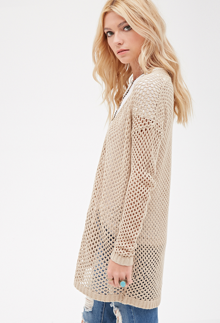 Forever 21 easy open knit cardigan in natural lyst gallery bankloansurffo Choice Image