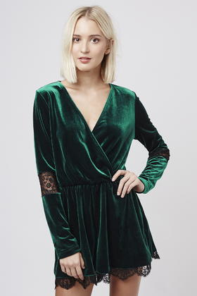 9eb0f8f23e2 Lyst - TOPSHOP Velvet Lace Playsuit in Green