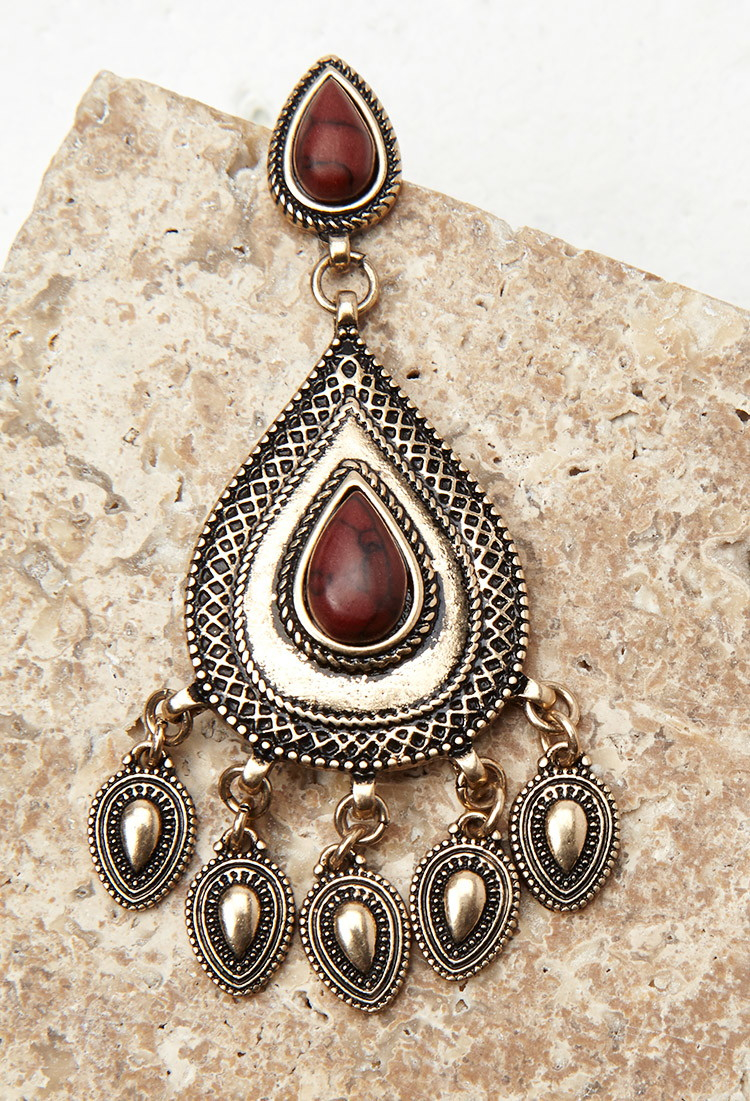Lyst forever 21 faux stone drop earrings in brown for Forever 21 jewelry earrings