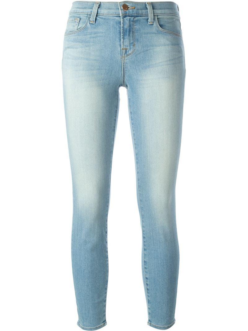 j brand skinny jeans in blue lyst. Black Bedroom Furniture Sets. Home Design Ideas