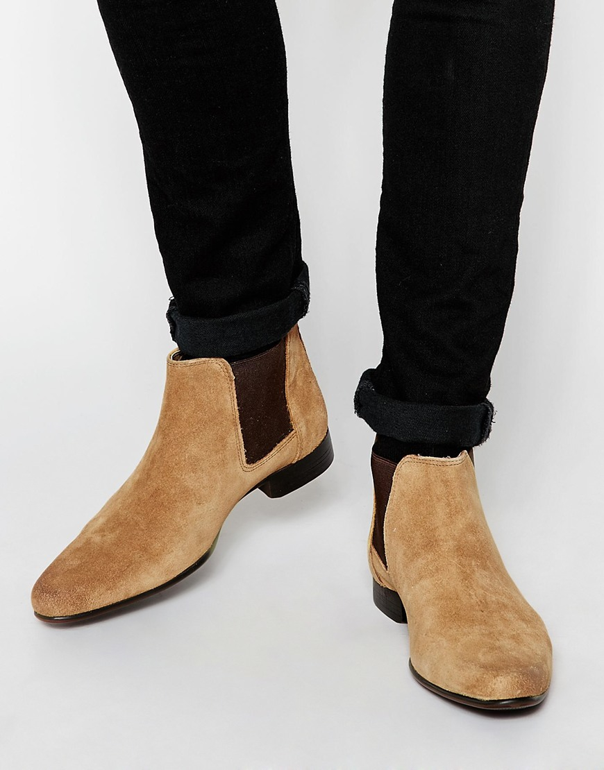 ad3201dc4f9 ASOS Brown Chelsea Boots In Tan Suede With Back Pull for men