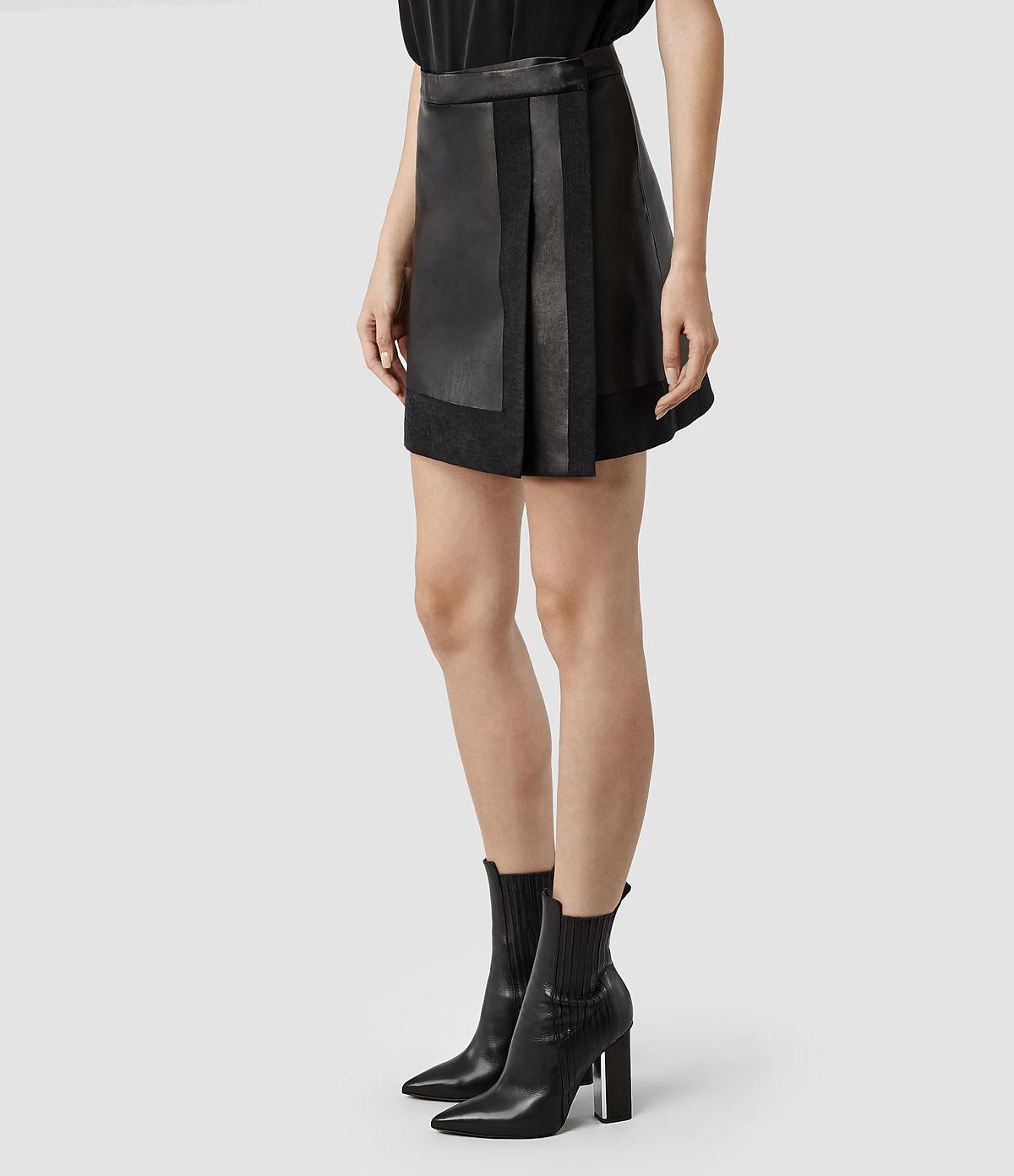 allsaints melina leather skirt in black black washed