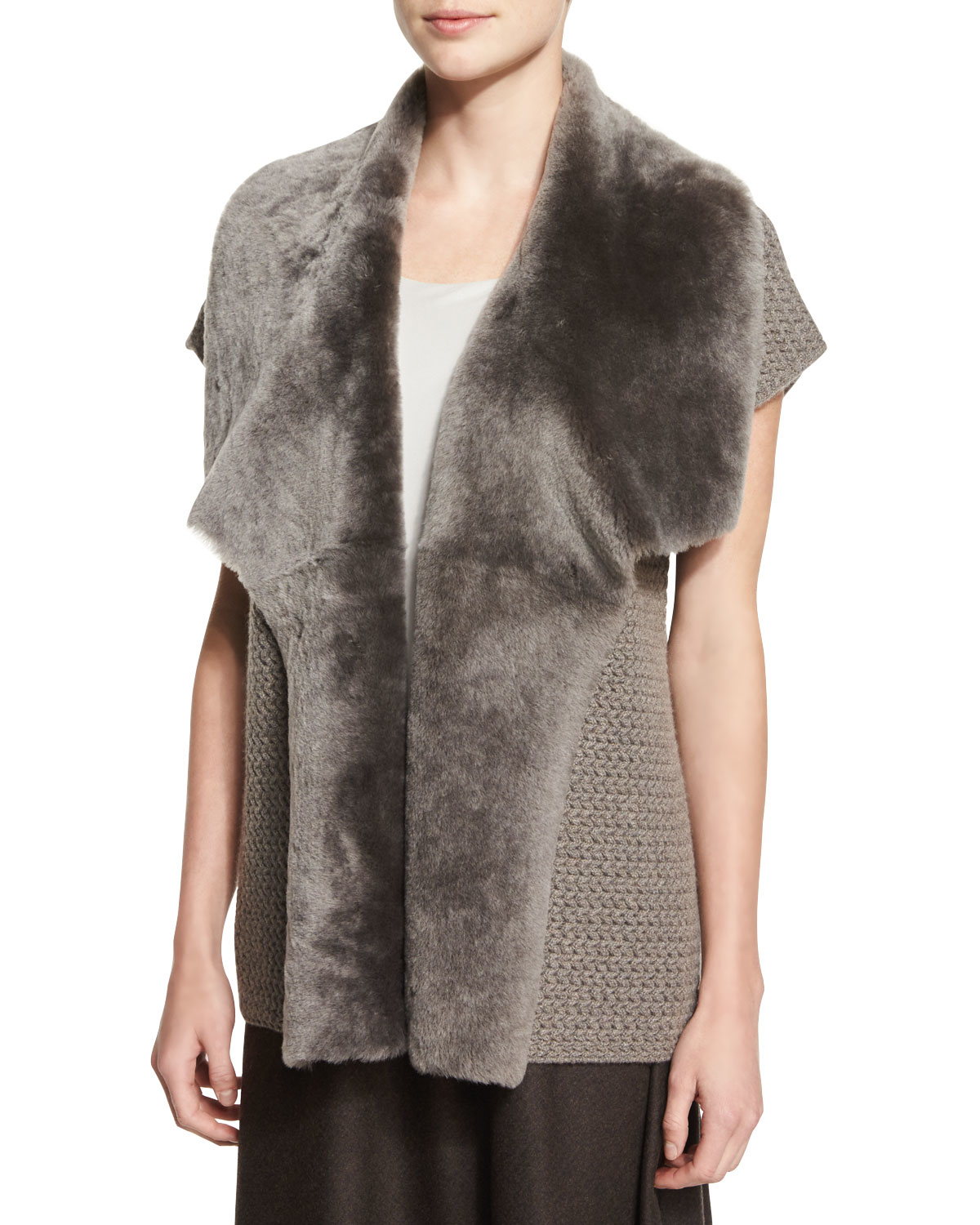 Lyst Lafayette 148 New York Shearling Collar Cashmere Vest In Natural