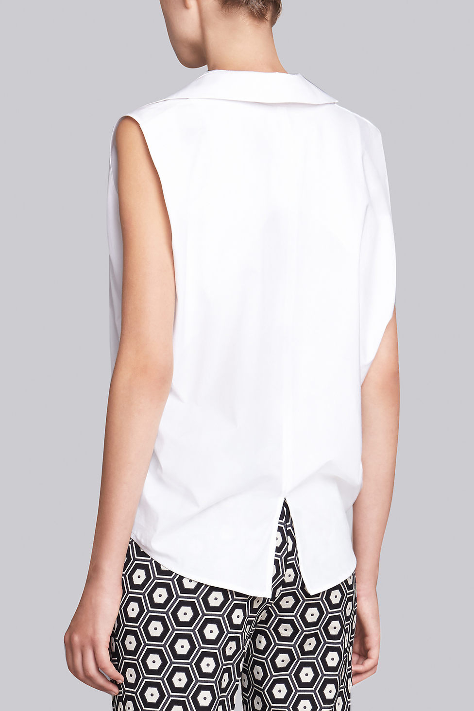 Lyst Natori Cotton Shirting Sleeveless Collar Shirt In White