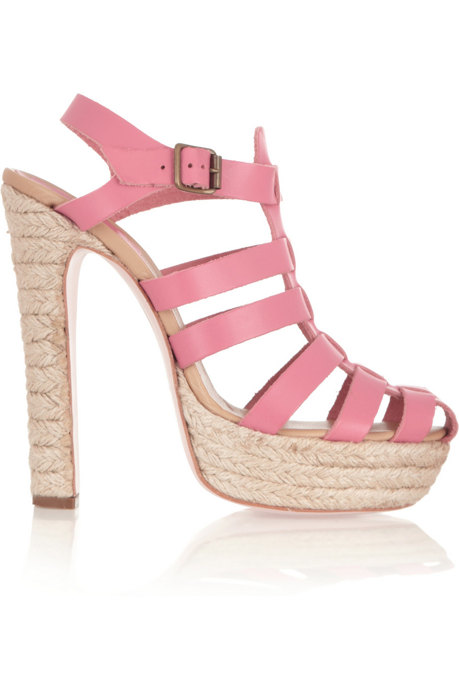 Red Valentino Leather Platform Sandals In Pink Lyst
