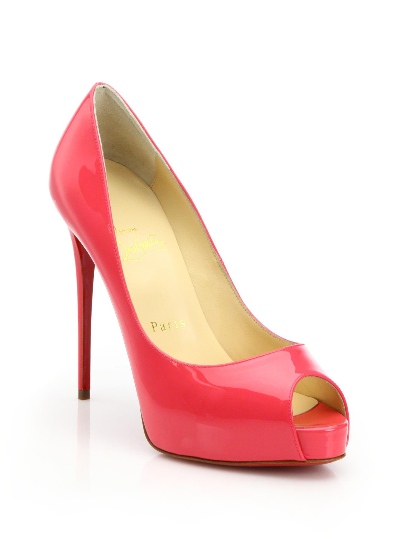 huge selection of d3821 6c910 Christian Louboutin Pink New Very Prive Patent Leather Peep-toe Pumps