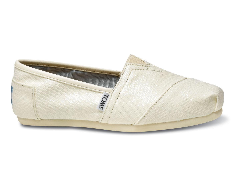 Toms Shoes White Glitter