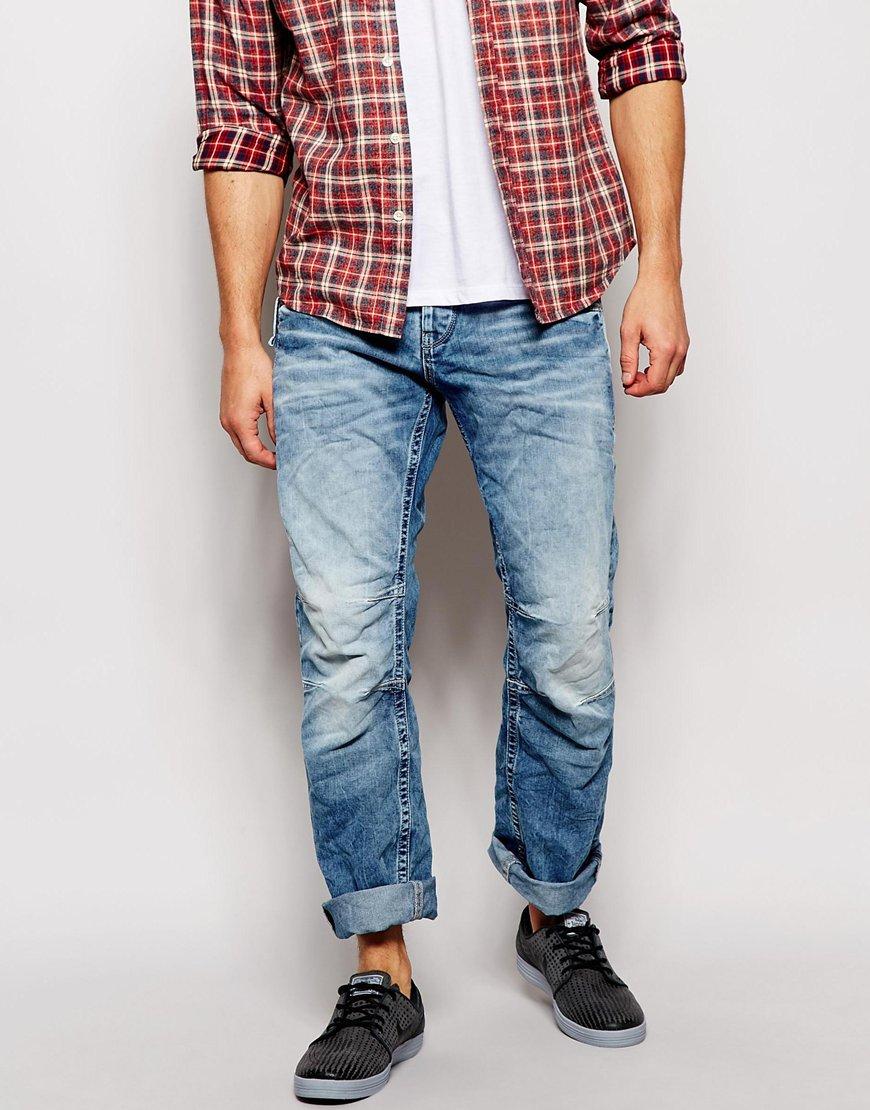 jack jones loose fit jeans with panels in blue for men lyst. Black Bedroom Furniture Sets. Home Design Ideas