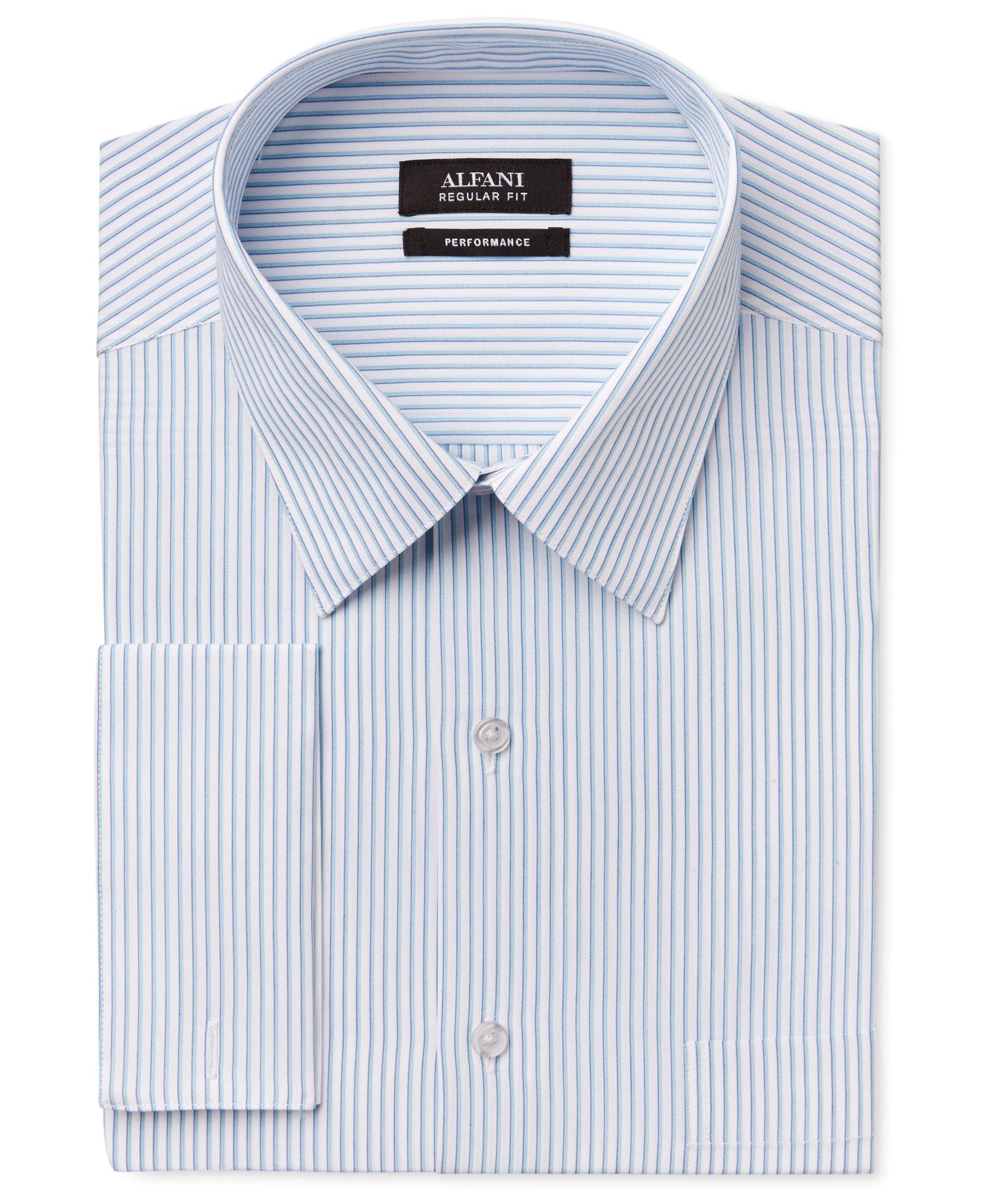 Alfani men 39 s big tall performance teal stripe french for Big and tall french cuff dress shirts