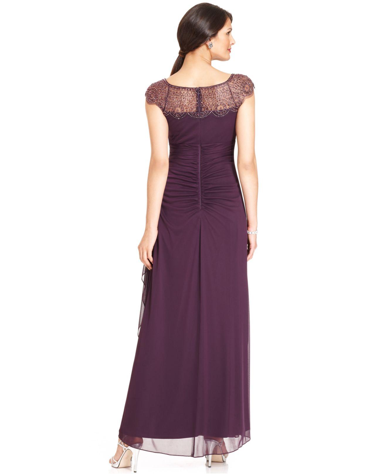90da3133e Xscape Petite Cap-Sleeve Beaded Gown in Purple - Lyst