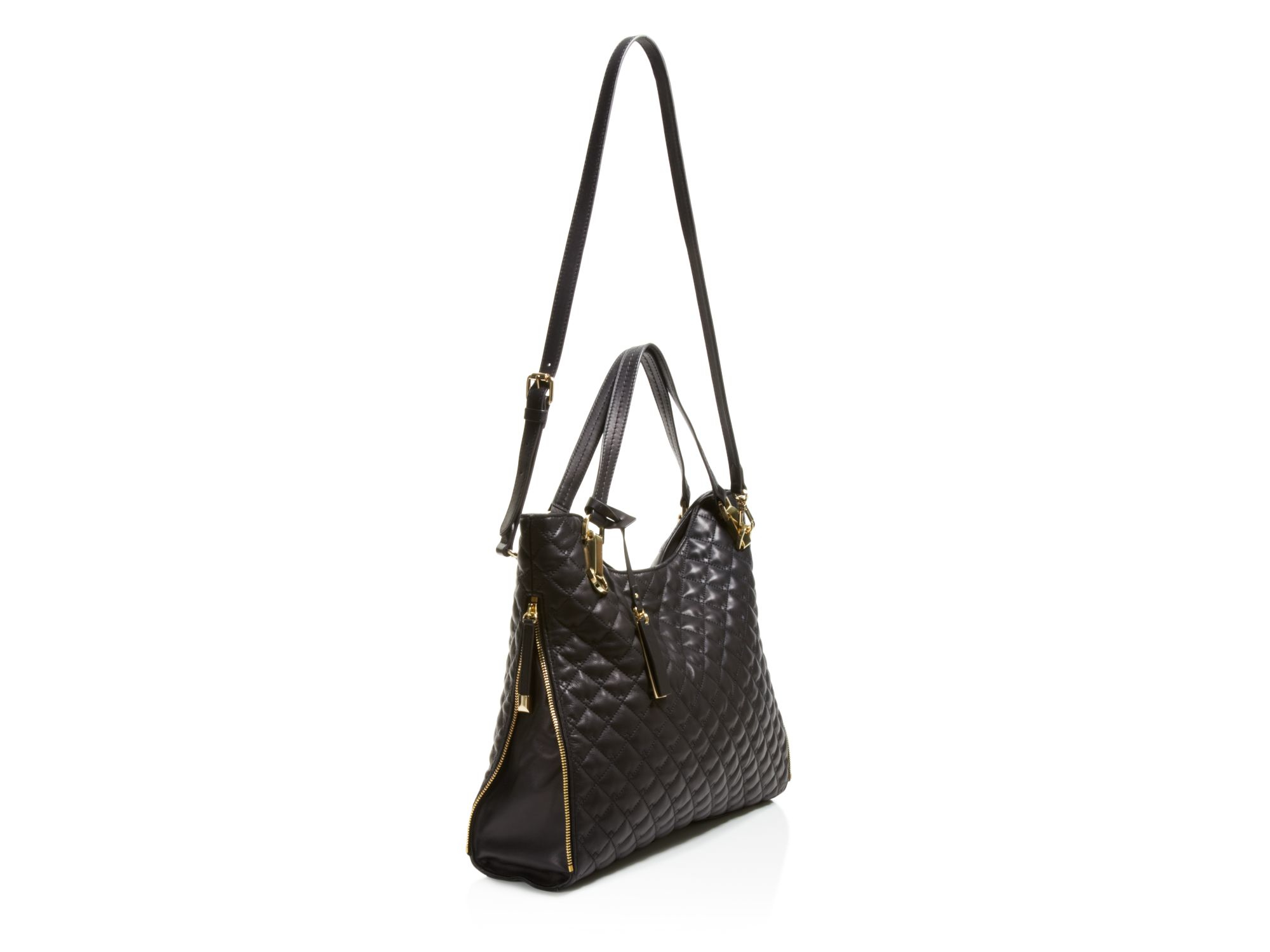 Vince Camuto Leather Riley Quilted Square Tote In Black Lyst