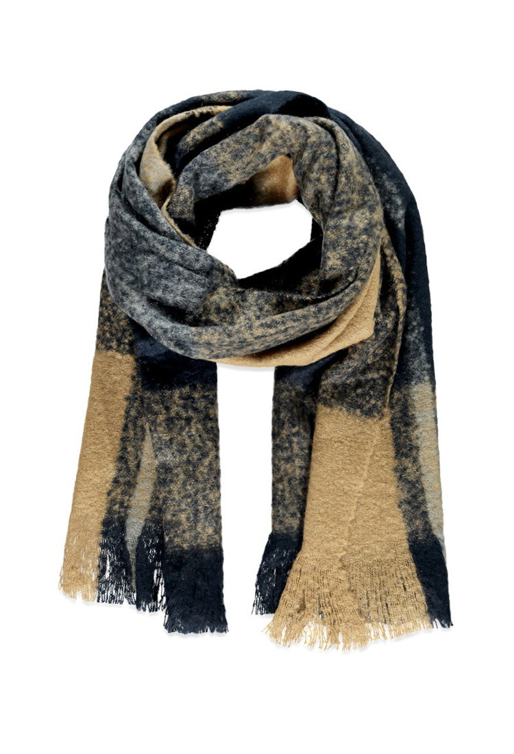 forever 21 fringed oversized plaid scarf in brown navy