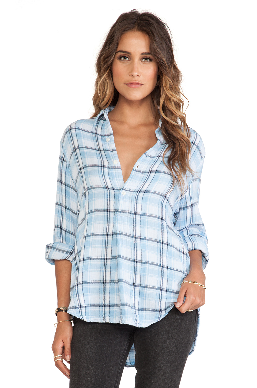 Lyst cp shades tennessee plaid shirt in blue for Lightweight plaid shirt womens