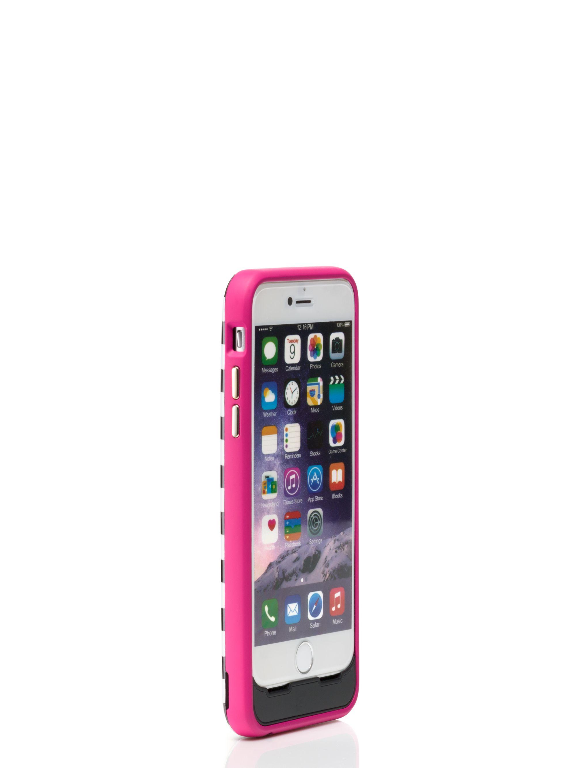 best service d468c 49906 Kate Spade Micro Stripe Iphone 6 Charging Case in Black - Lyst