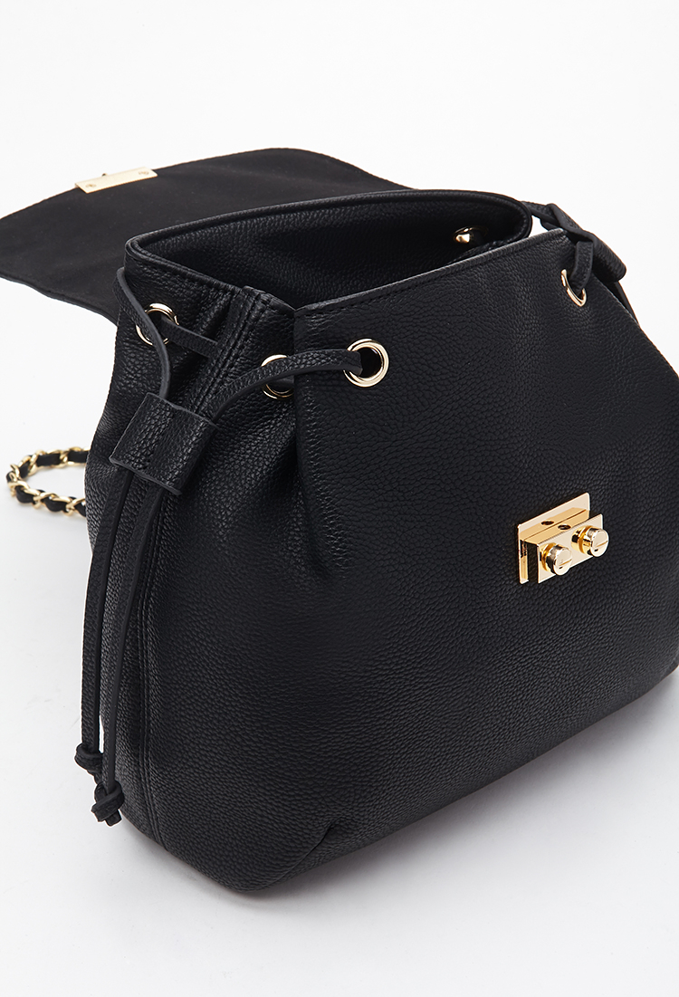 Forever 21 chain strapped faux leather backpack in black for Define faux leather