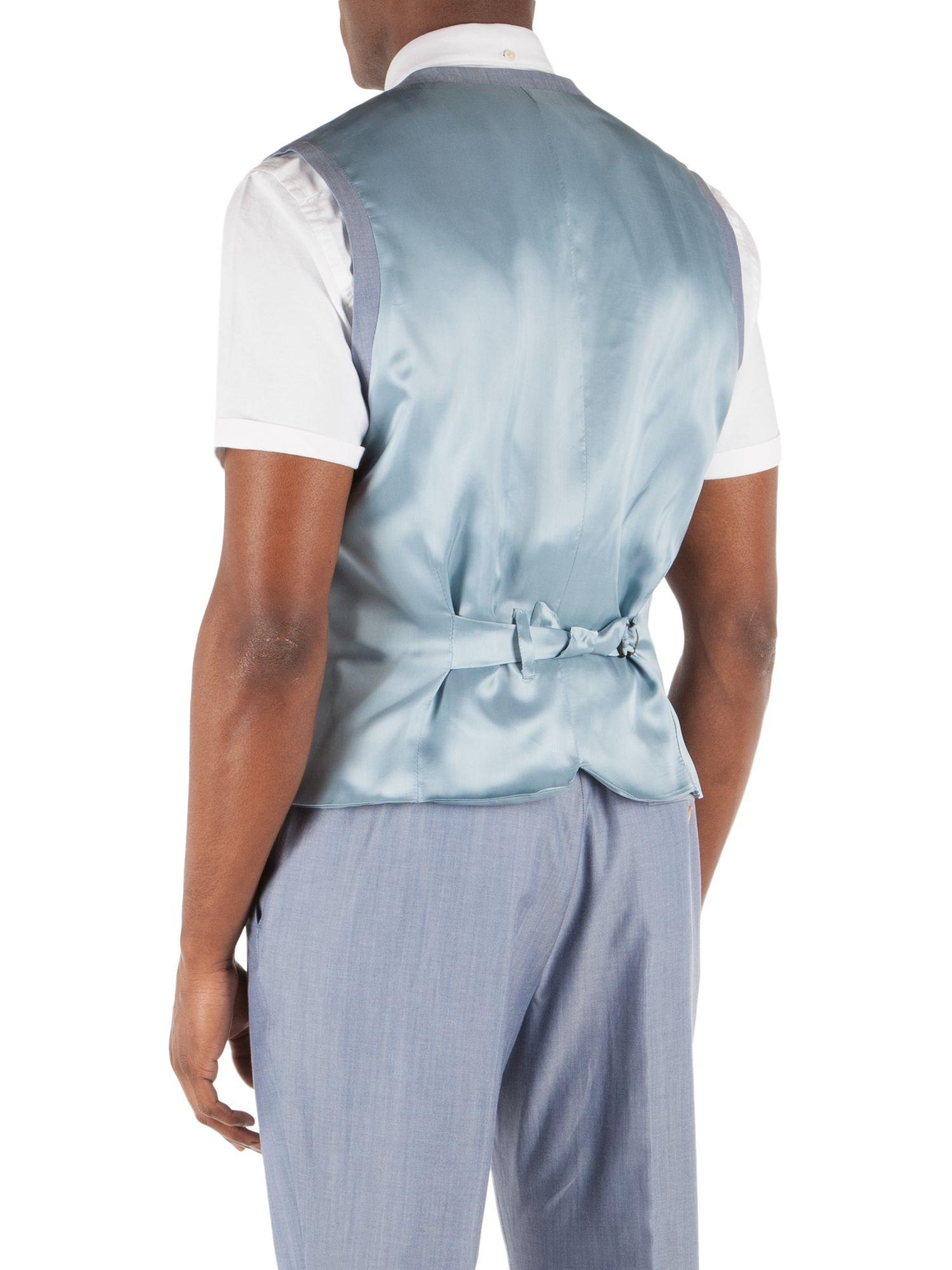 Gibson Plain Slim Fit Waistcoat in Light Blue (Blue) for Men