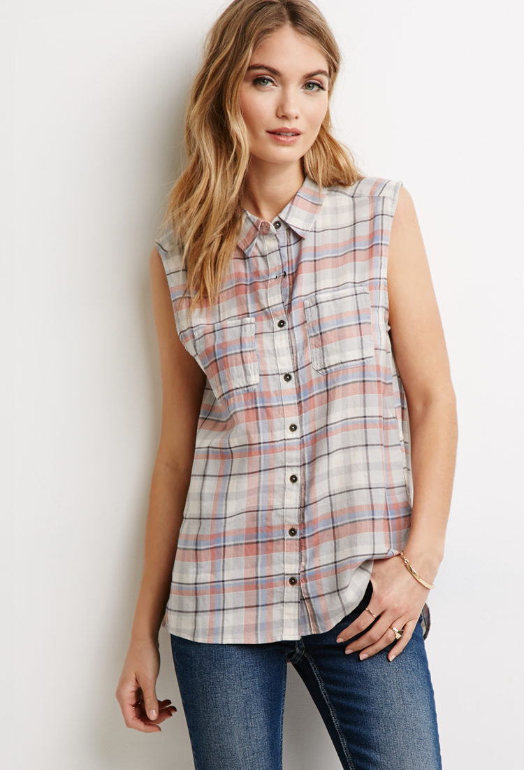 Lyst forever 21 vented plaid shirt in gray for Grey plaid shirt womens