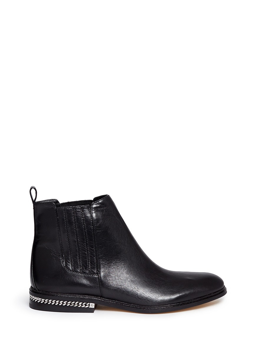 michael kors sabrina chain detailed leather chelsea boots. Black Bedroom Furniture Sets. Home Design Ideas
