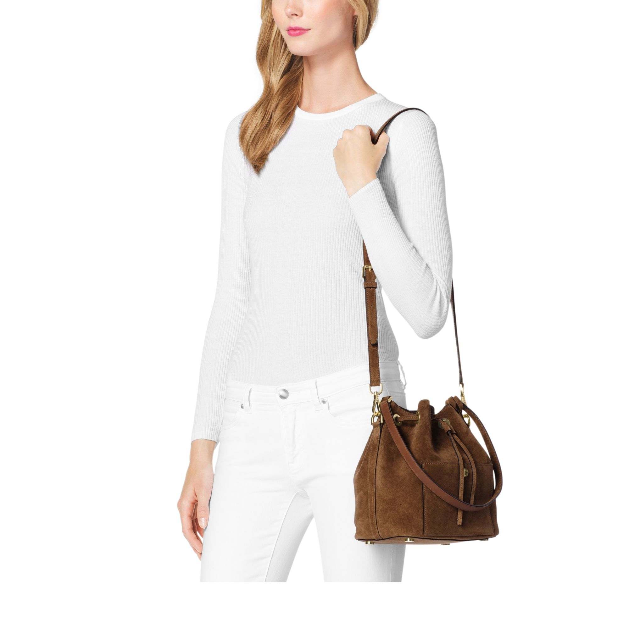 432307b0800e ... wholesale michael kors greenwich suede bucket bag in brown lyst e7bc0  97ea6