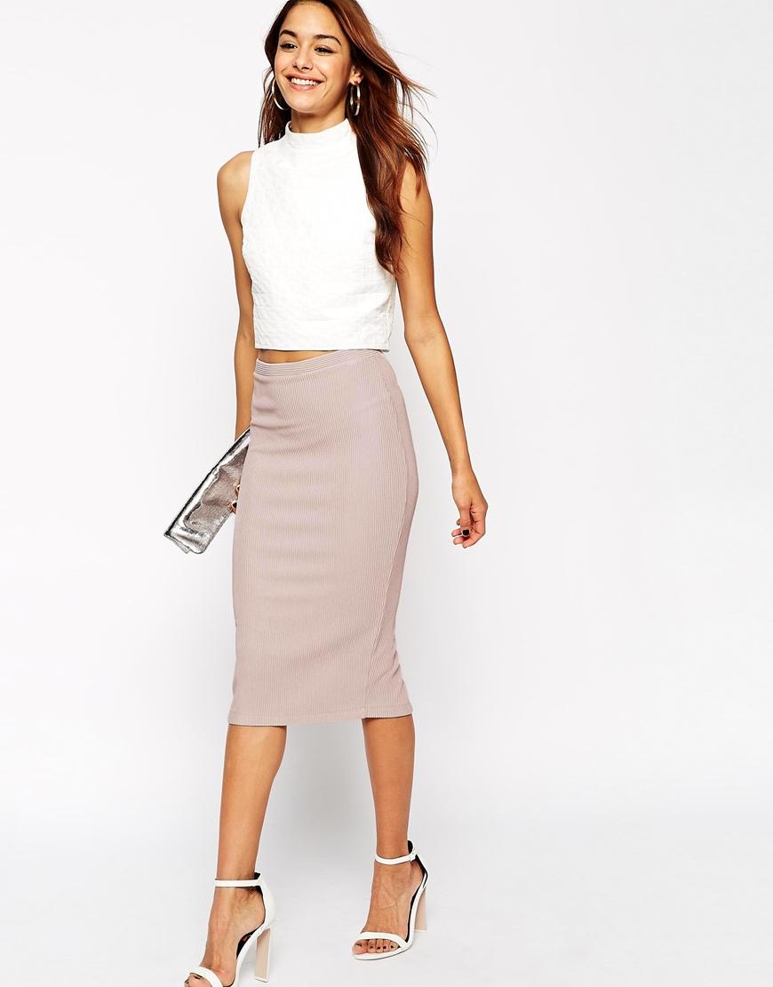 asos midi pencil skirt in heavy rib in pink blush lyst