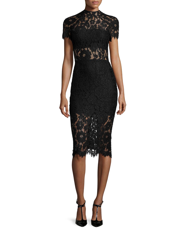 Alexis Leona Short-sleeve Lace Sheath Dress In Black