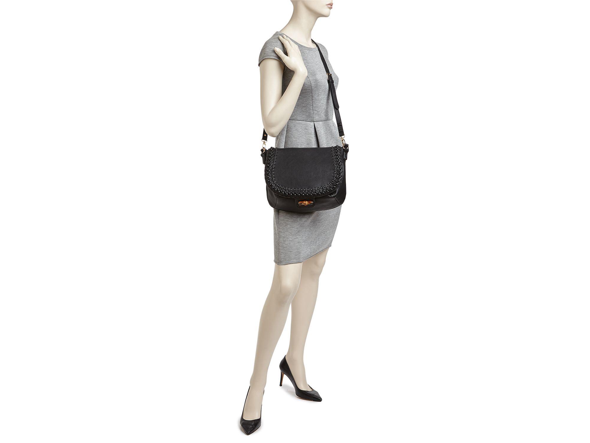 Big Buddha Hana Whipstitch Crossbody Messenger Bag - Compare At $80 in Black