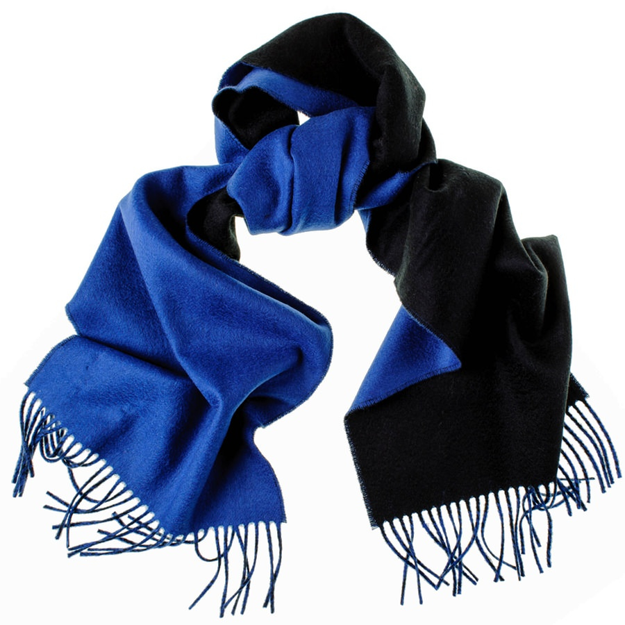 Black.co.uk Cobalt Blue And Black Reversible Cashmere Scarf in ...