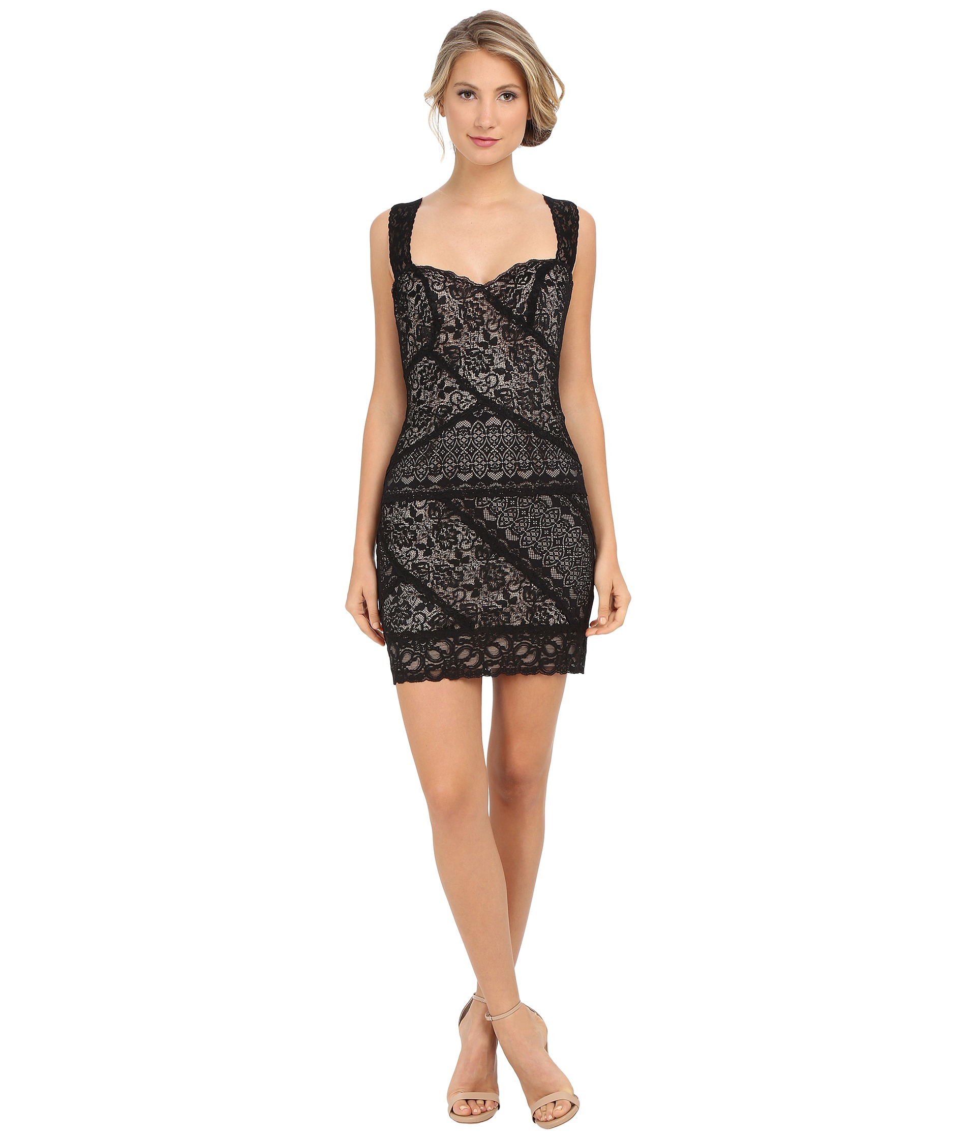 Nicole miller Stella Lace Dress in Black | Lyst