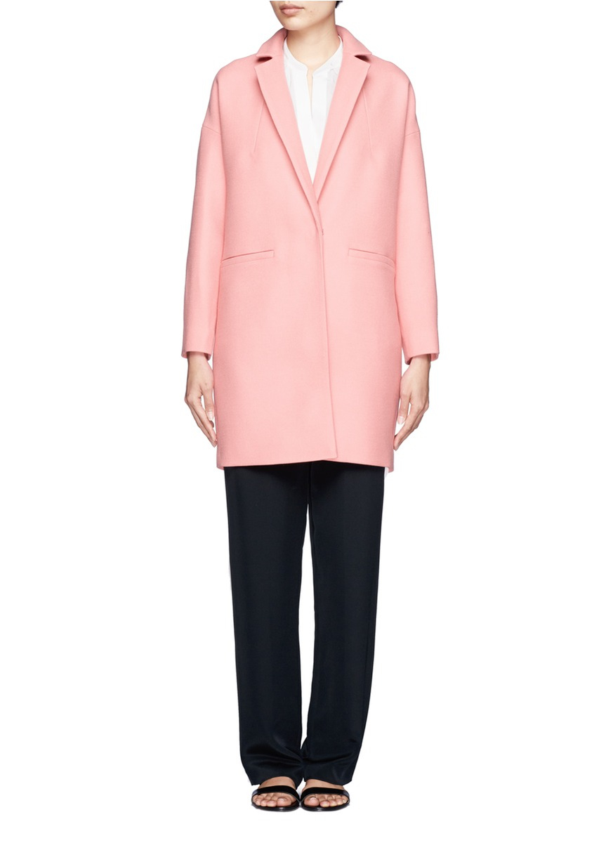 Whistles Dina Crombie Oversized Coat in Pink | Lyst