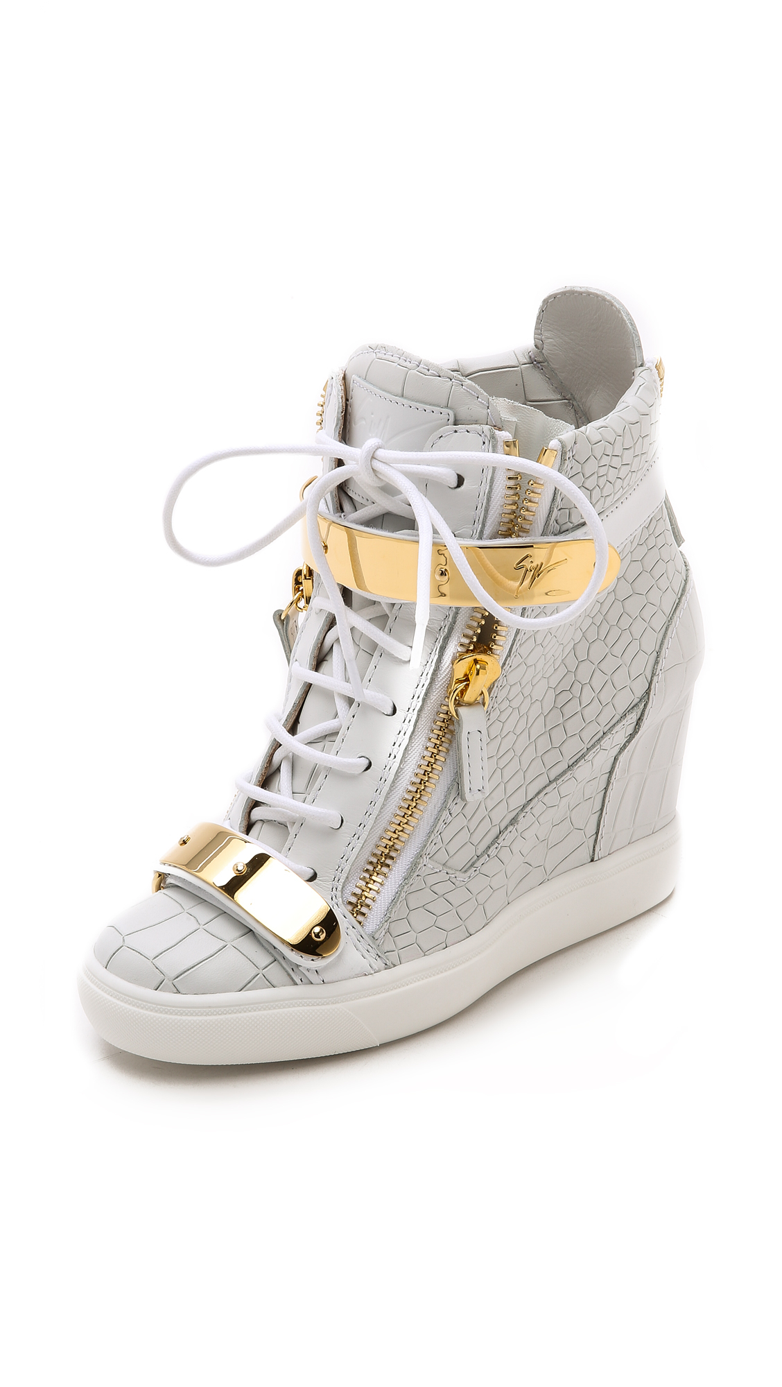 5df58f702add Lyst - Giuseppe Zanotti Croc Embossed Wedge Sneakers - White in White