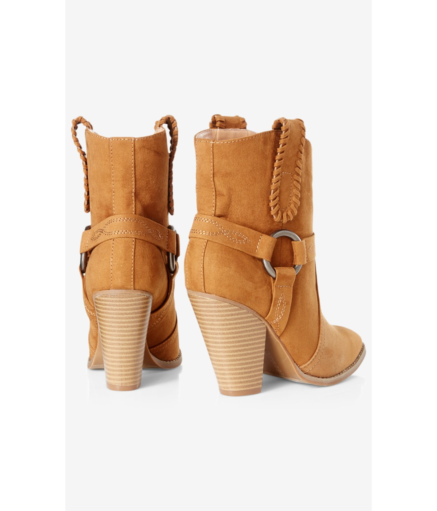 Express Synthetic Faux Suede Western Bootie in Cognac (Brown)