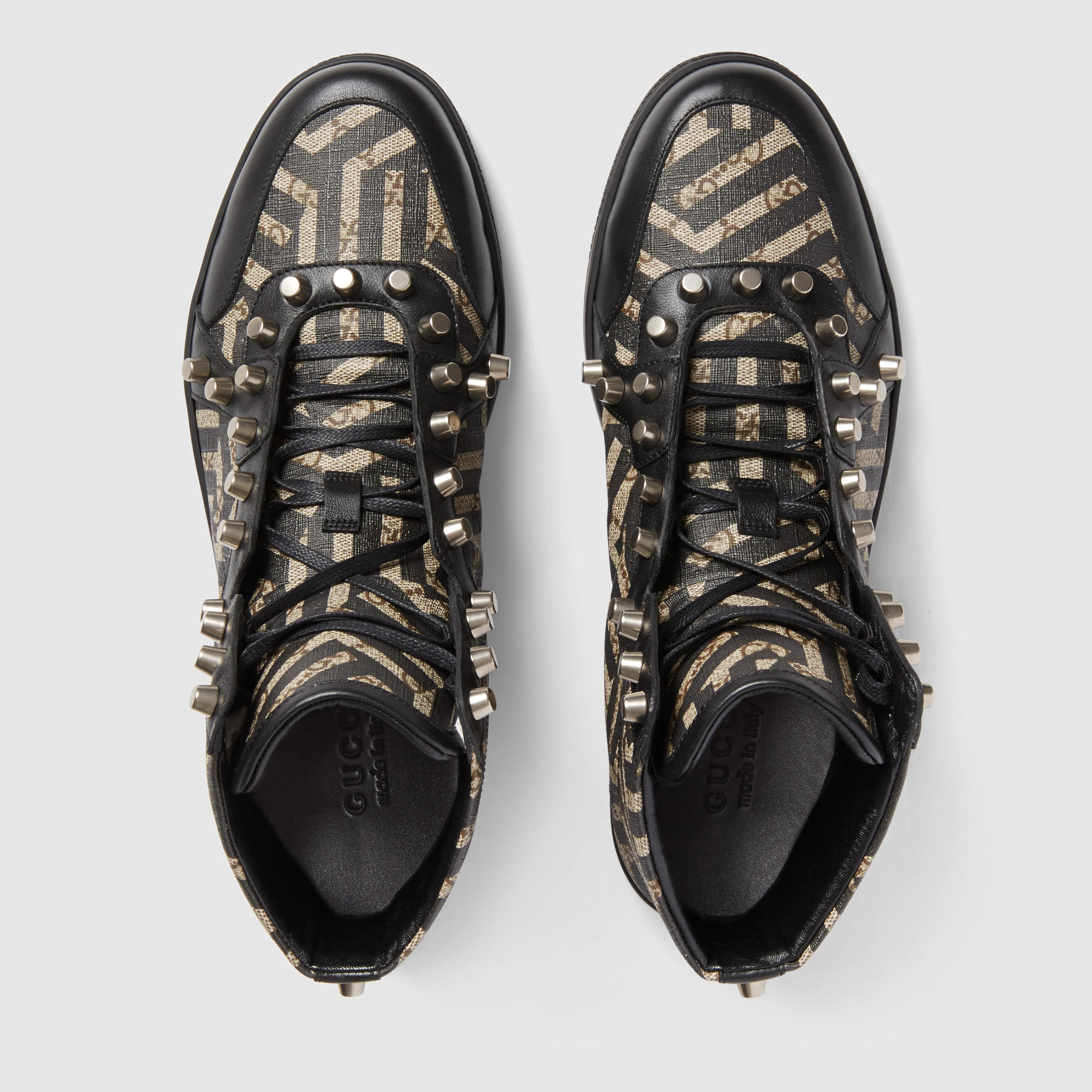 0485a6e5a780 Lyst - Gucci Gg Caleido High-top With Studs in Black for Men