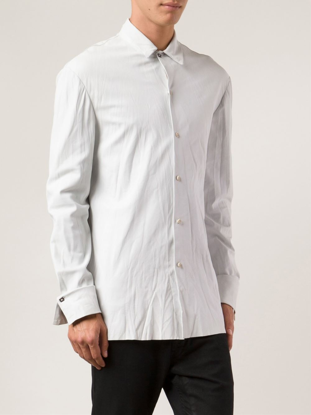 Ma+ Leather Shirt Jacket in White for Men - Lyst