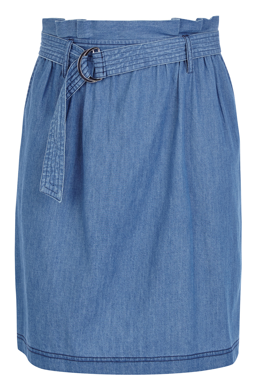 oasis d ring chambray skirt in blue lyst