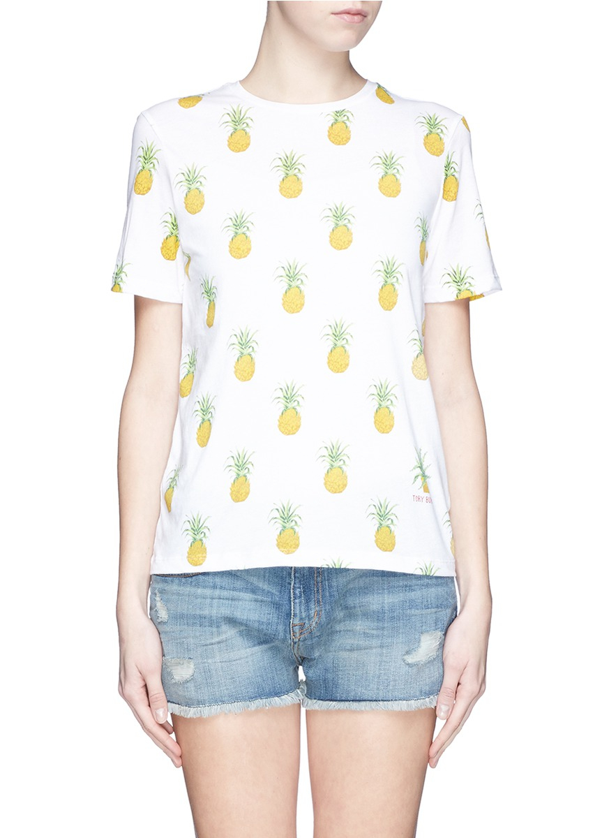 tory burch 39 cathy 39 pineapple print t shirt lyst. Black Bedroom Furniture Sets. Home Design Ideas