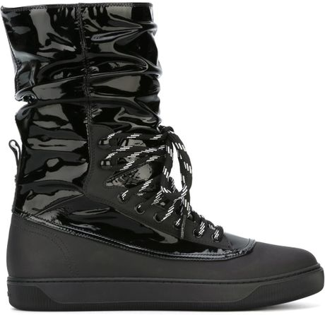 moncler black lace up patent leather snow boots lyst
