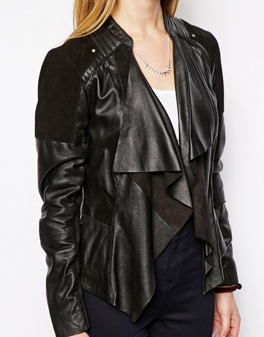 Asos Leather and Suede Waterfall Jacket in Black | Lyst