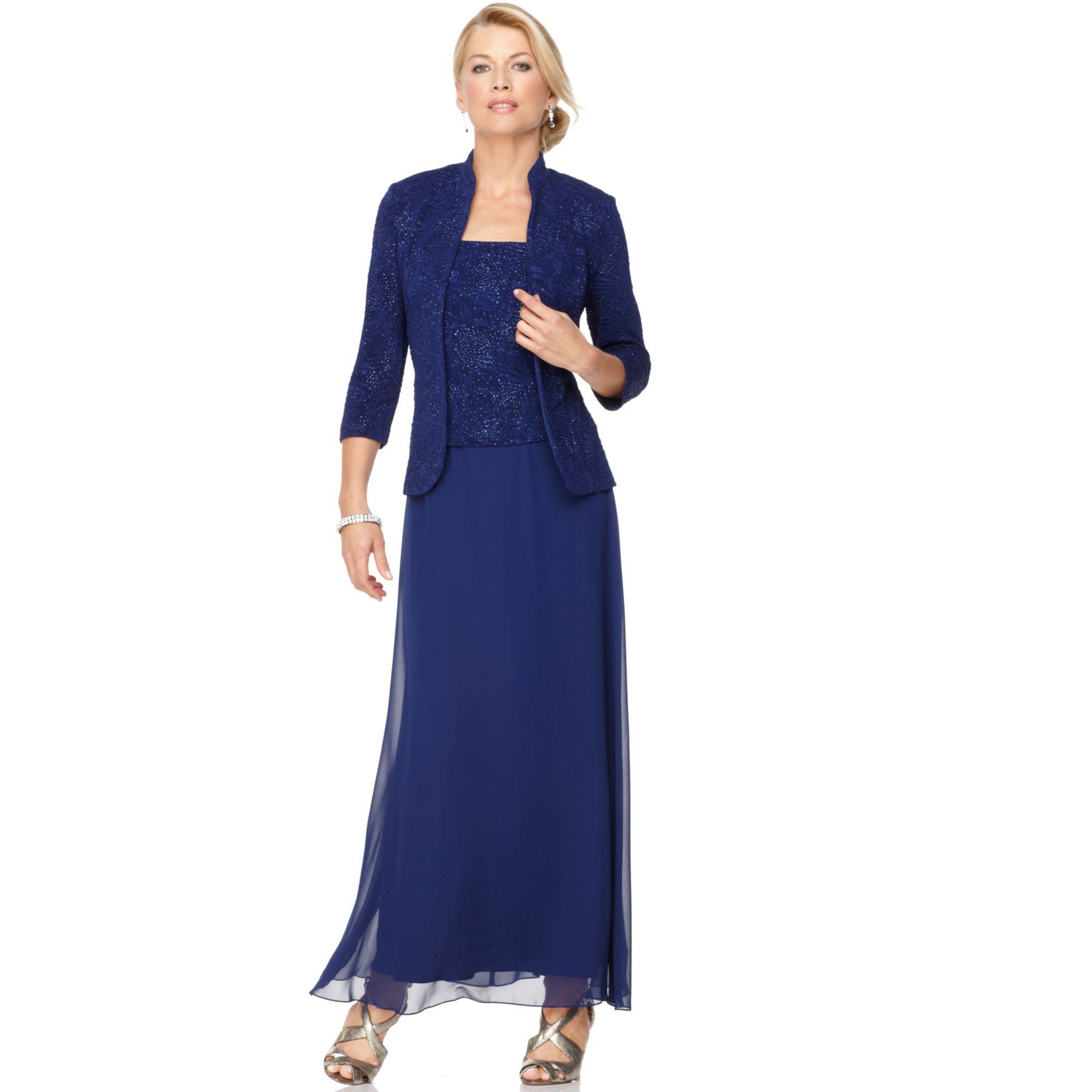 Alex Evenings Sleeveless Jacquard Sparkle Gown And Jacket In Blue
