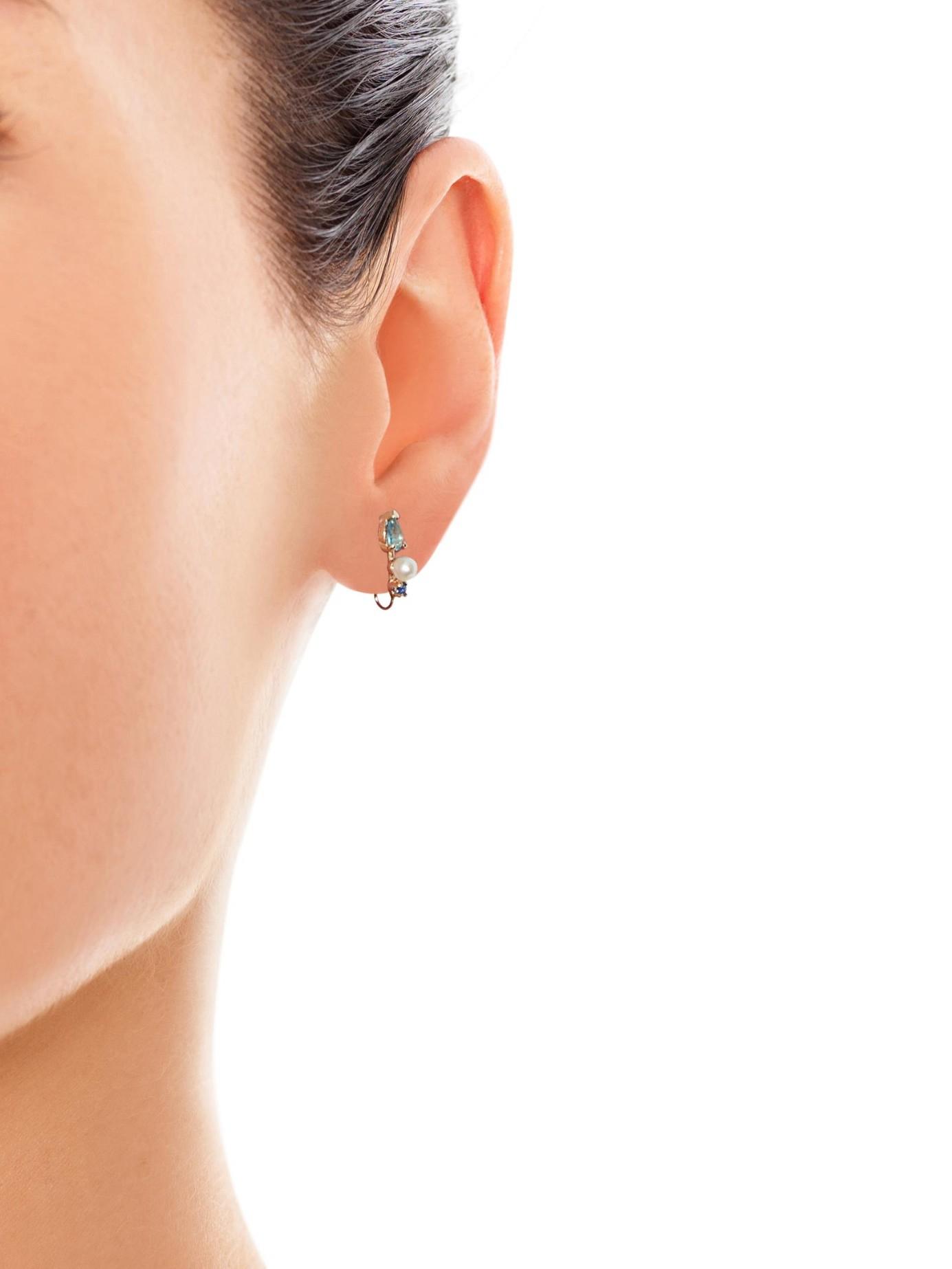 Diamant, Topazes Et Boucles D'oreilles En Or Jaune Lorén Stewart