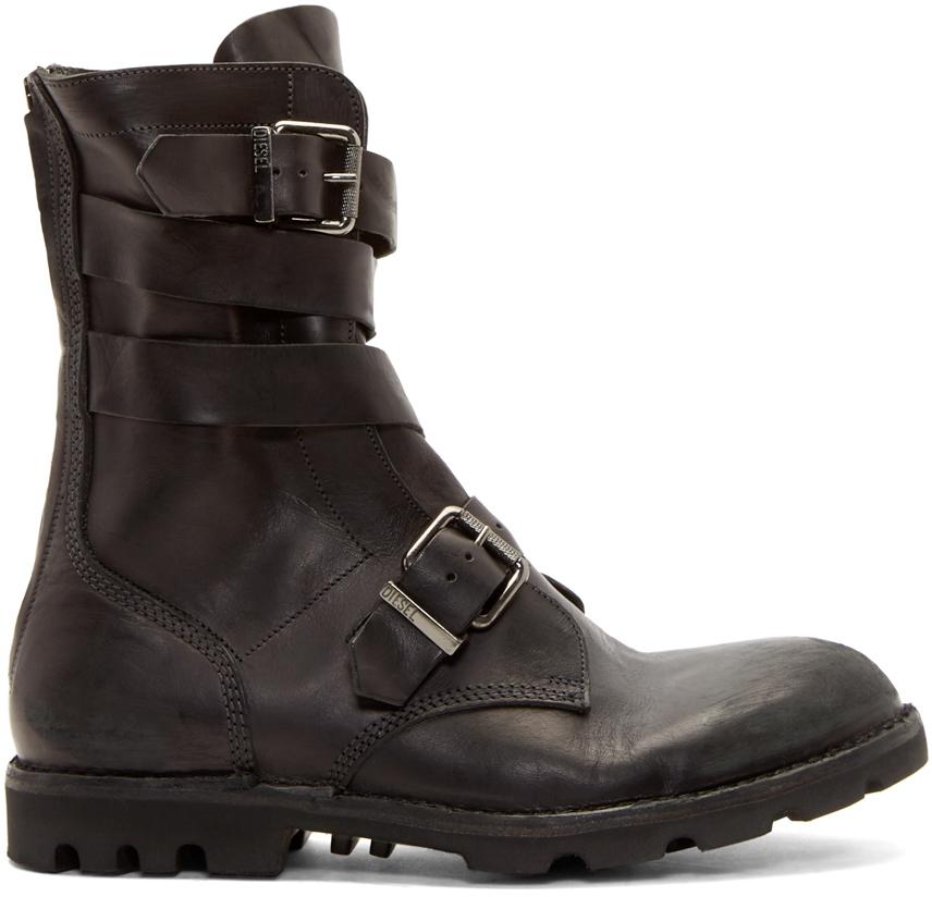 Lyst - Diesel Black Leather D-tankker Boots in Black for Men