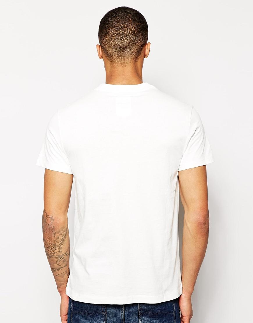 star raw g star t shirt bridgeman logo print in white for men lyst. Black Bedroom Furniture Sets. Home Design Ideas